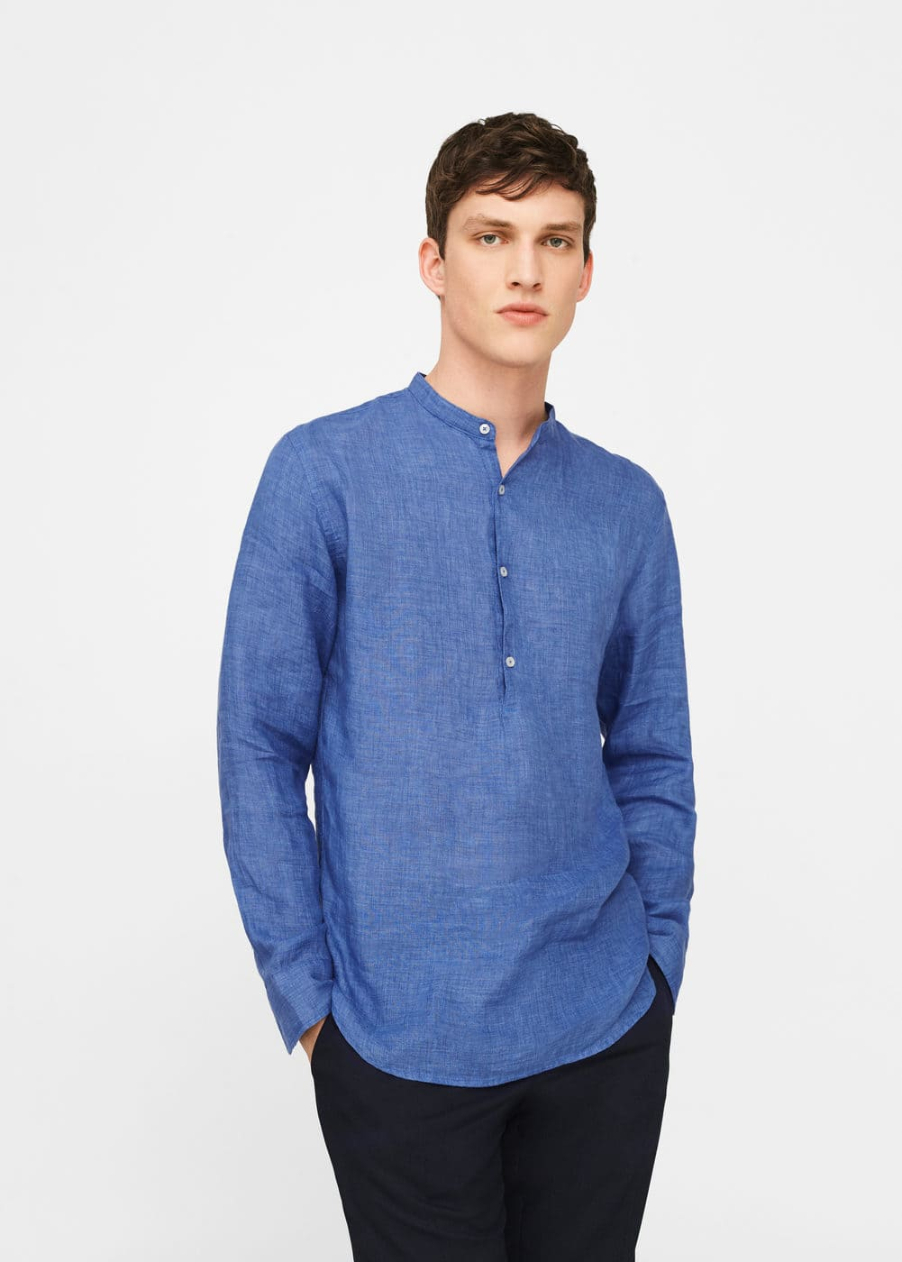 Camisa regular-fit lino cuello mao | MANGO