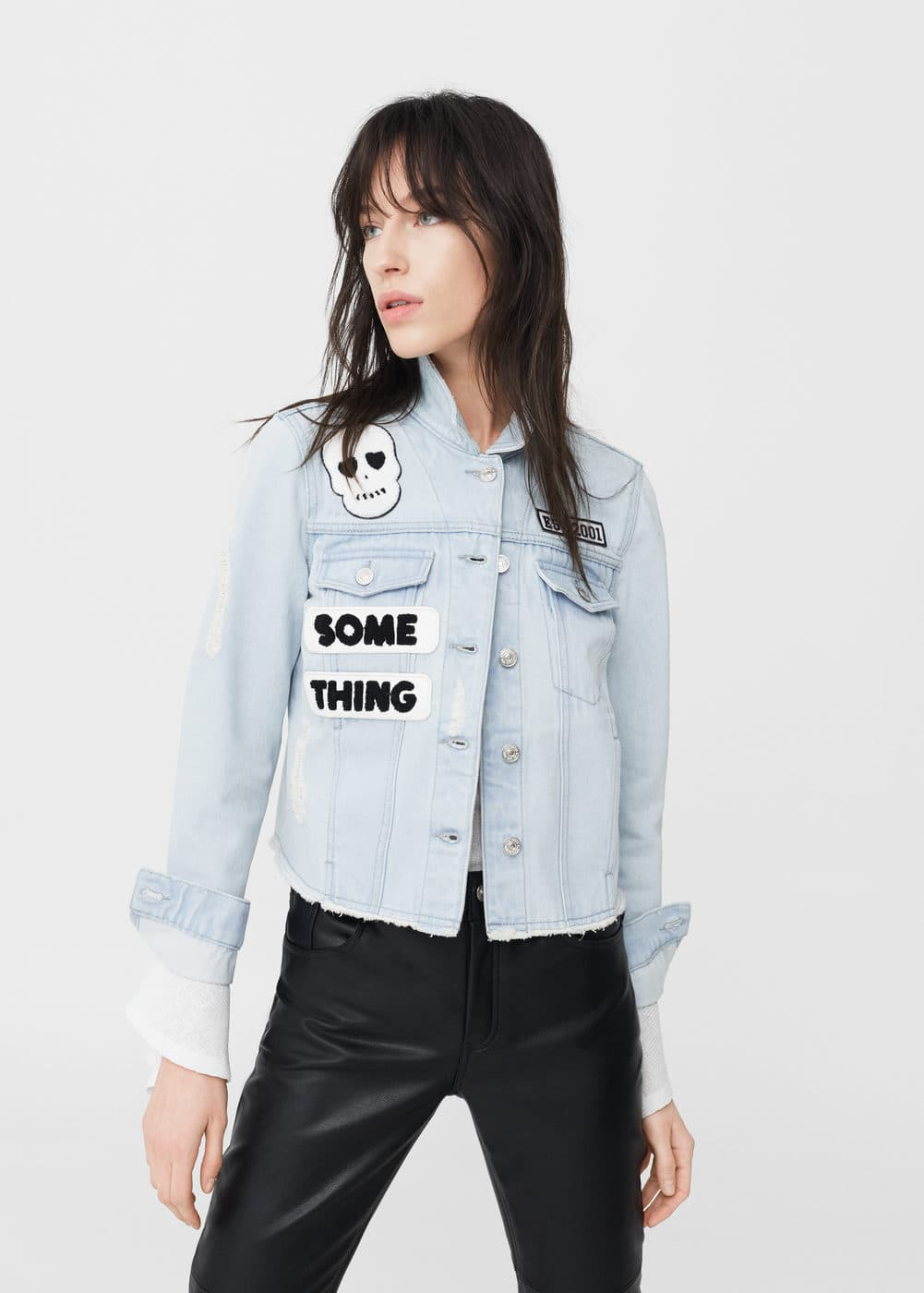 Patches light denim jacket | MANGO