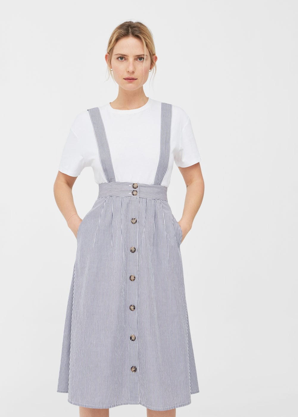 Striped pinafore dress | MANGO