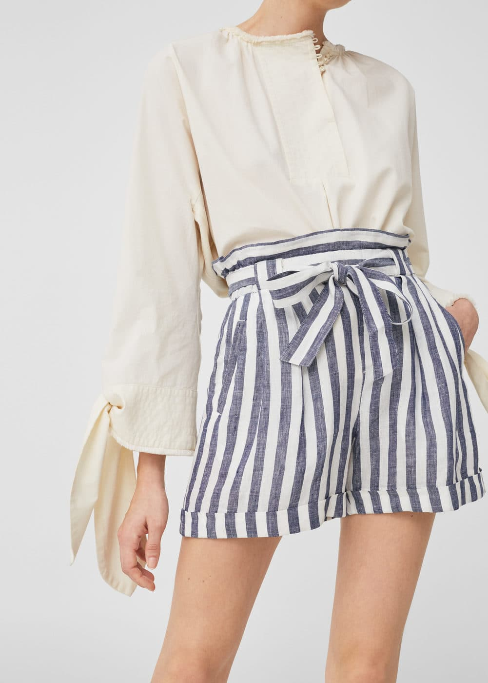 Linen-blend high-waist shorts | MANGO