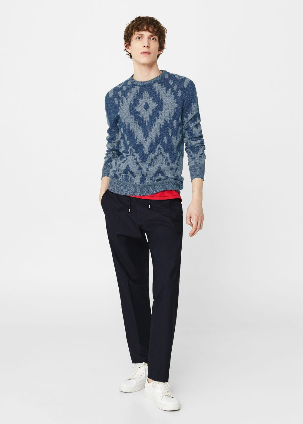 Flecked linen-blend sweater | MANGO MAN