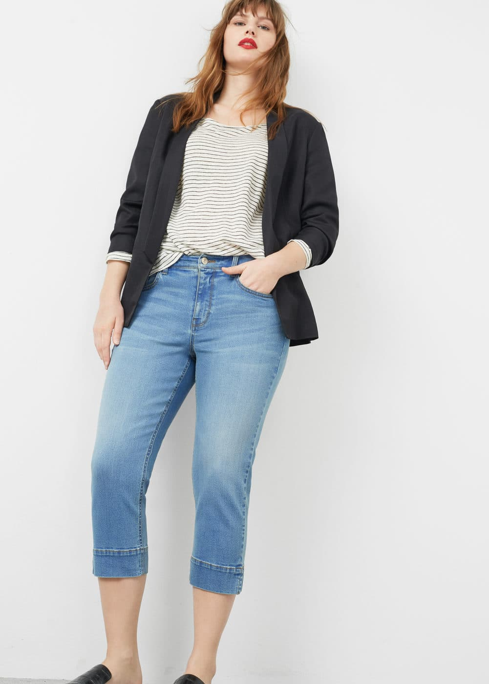 Capri slim-fit jeans | VIOLETA BY MANGO