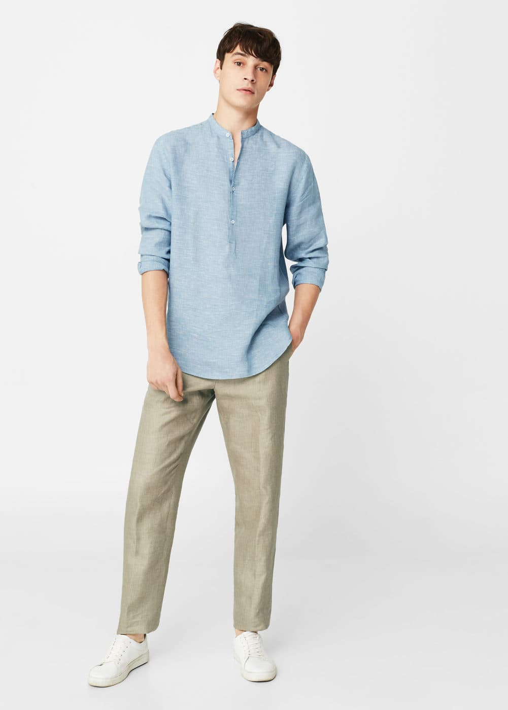 Regular-fit mao collar linen shirt | MANGO