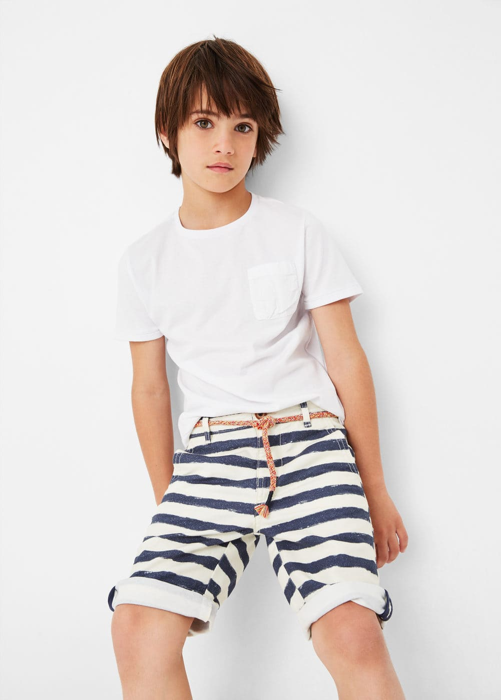 Striped cotton bermuda shorts | MANGO KIDS