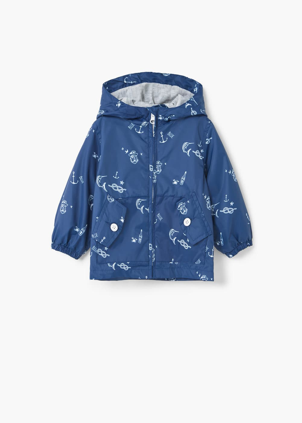 Hooded printed jacket | MANGO KIDS