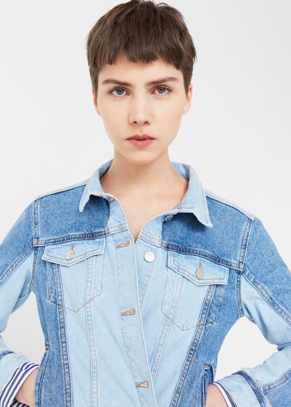 Two-tone wash denim jacket | MANGO