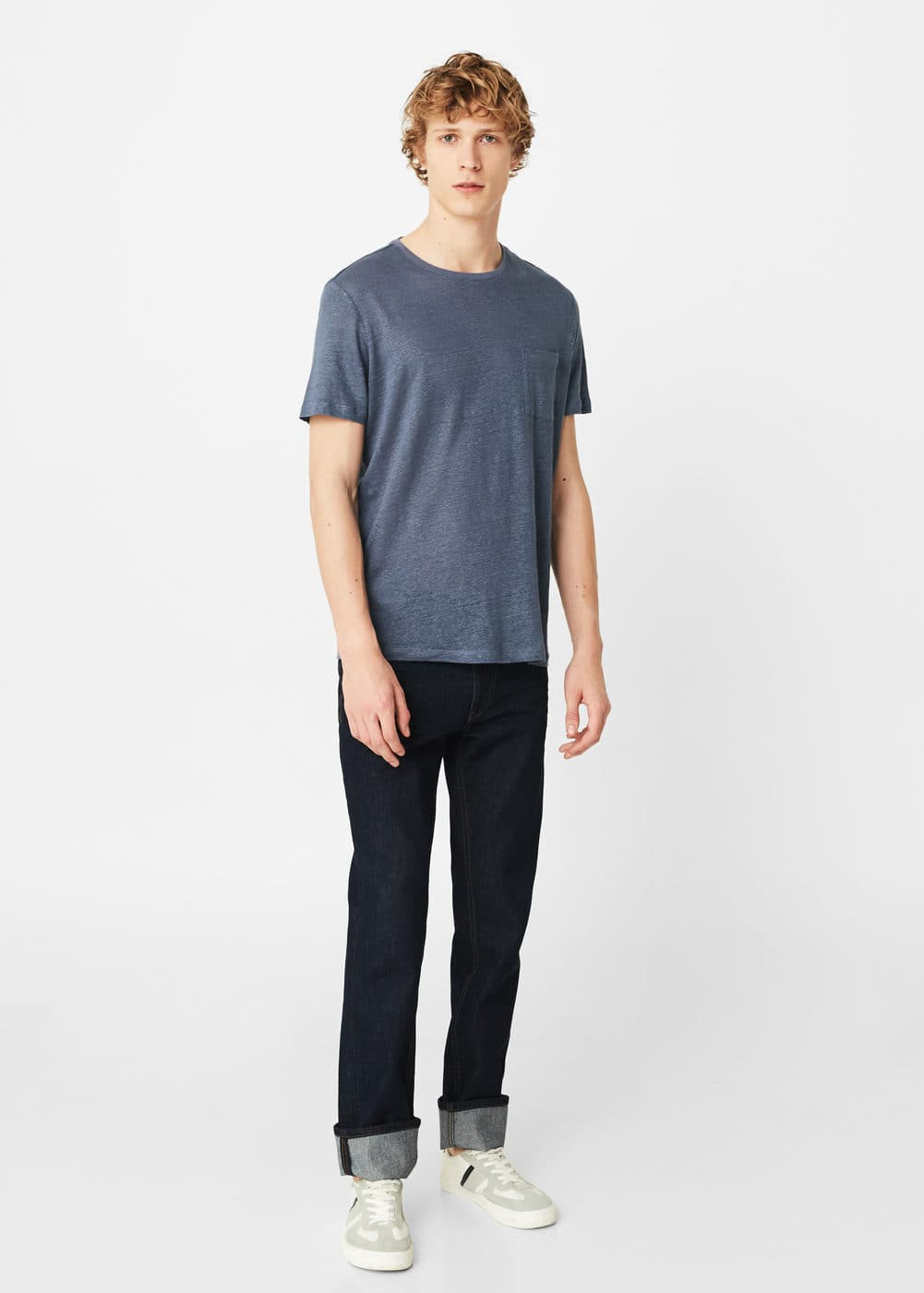 Pocket linen-blend t-shirt | MANGO