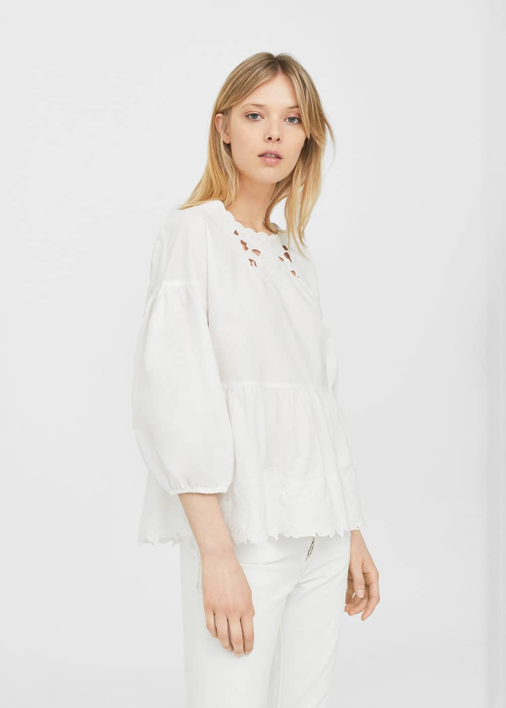 Openwork cotton blouse | MANGO