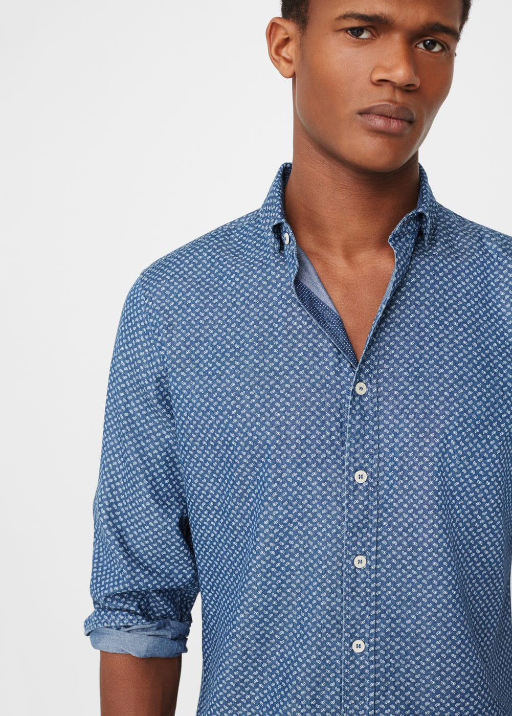 Slim-fit paisley chambray shirt | MANGO