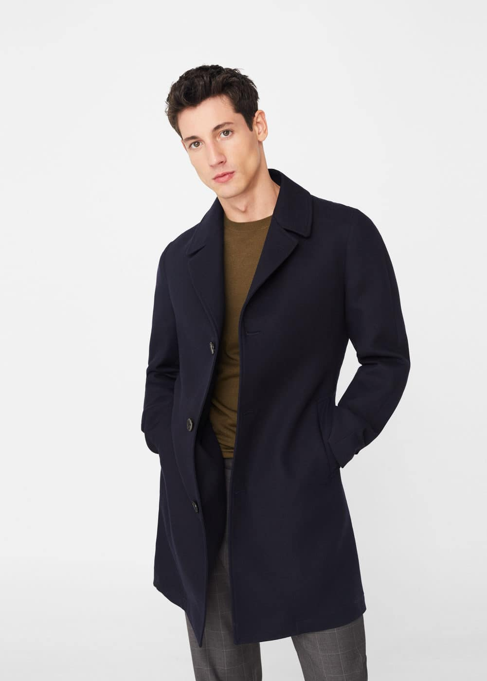 Tailored cotton-blend overcoat | MANGO