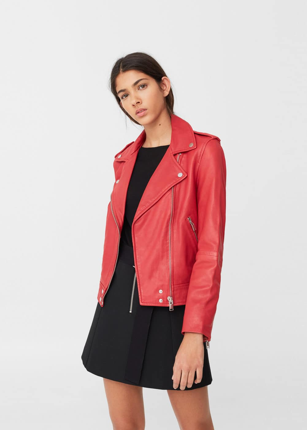 Leather biker jacket | MNG