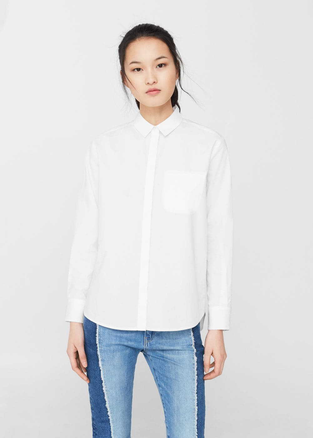 Side slit cotton shirt | MANGO