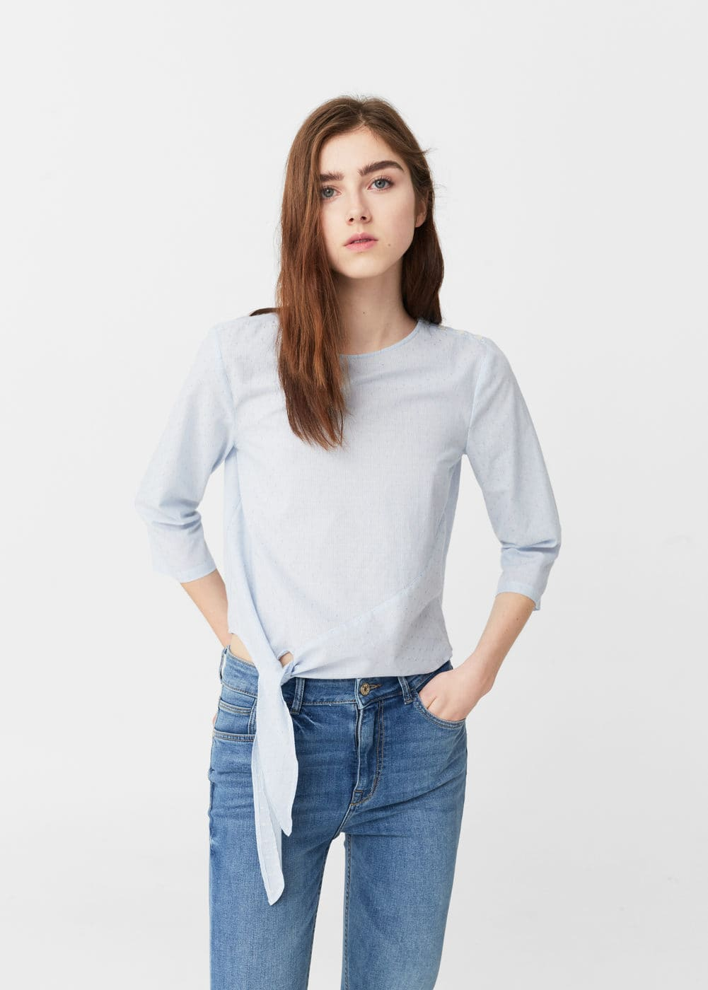 Knotted-hem cotton blouse | MANGO