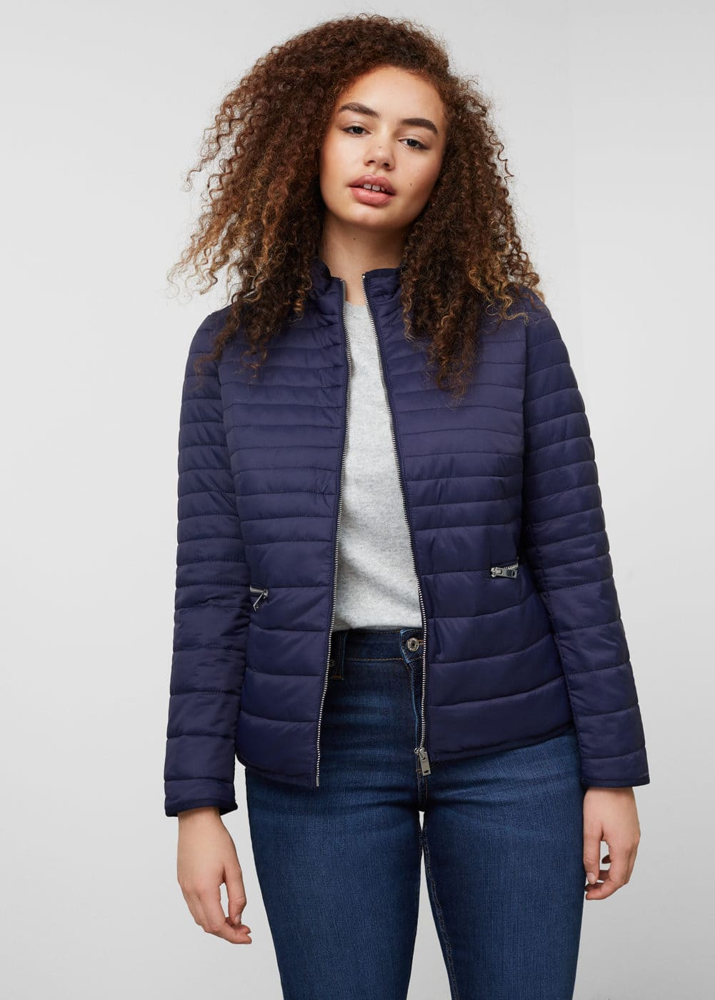 Side-zip quilted coat | VIOLETA BY MANGO