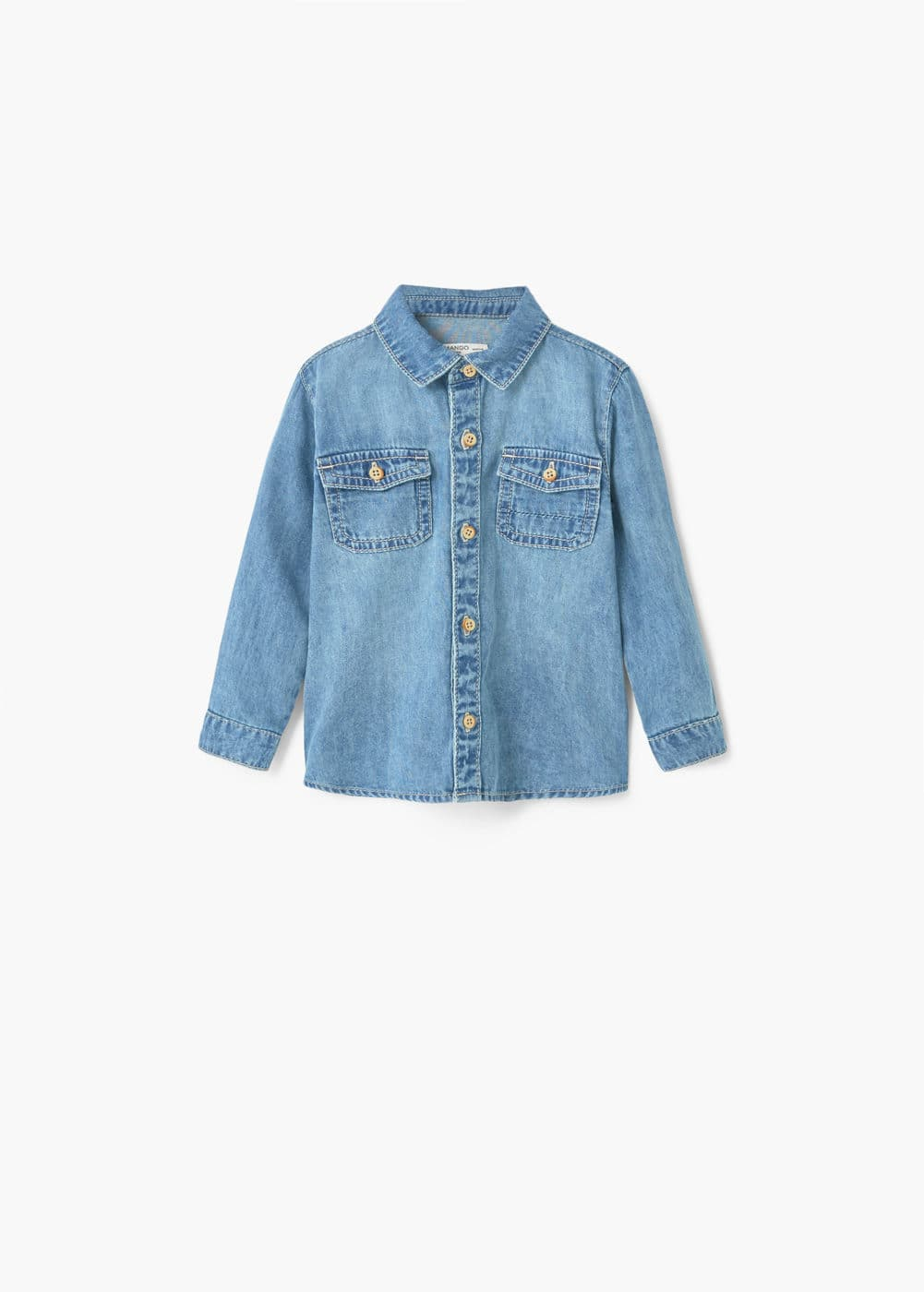 Chest-pocket denim shirt | MANGO