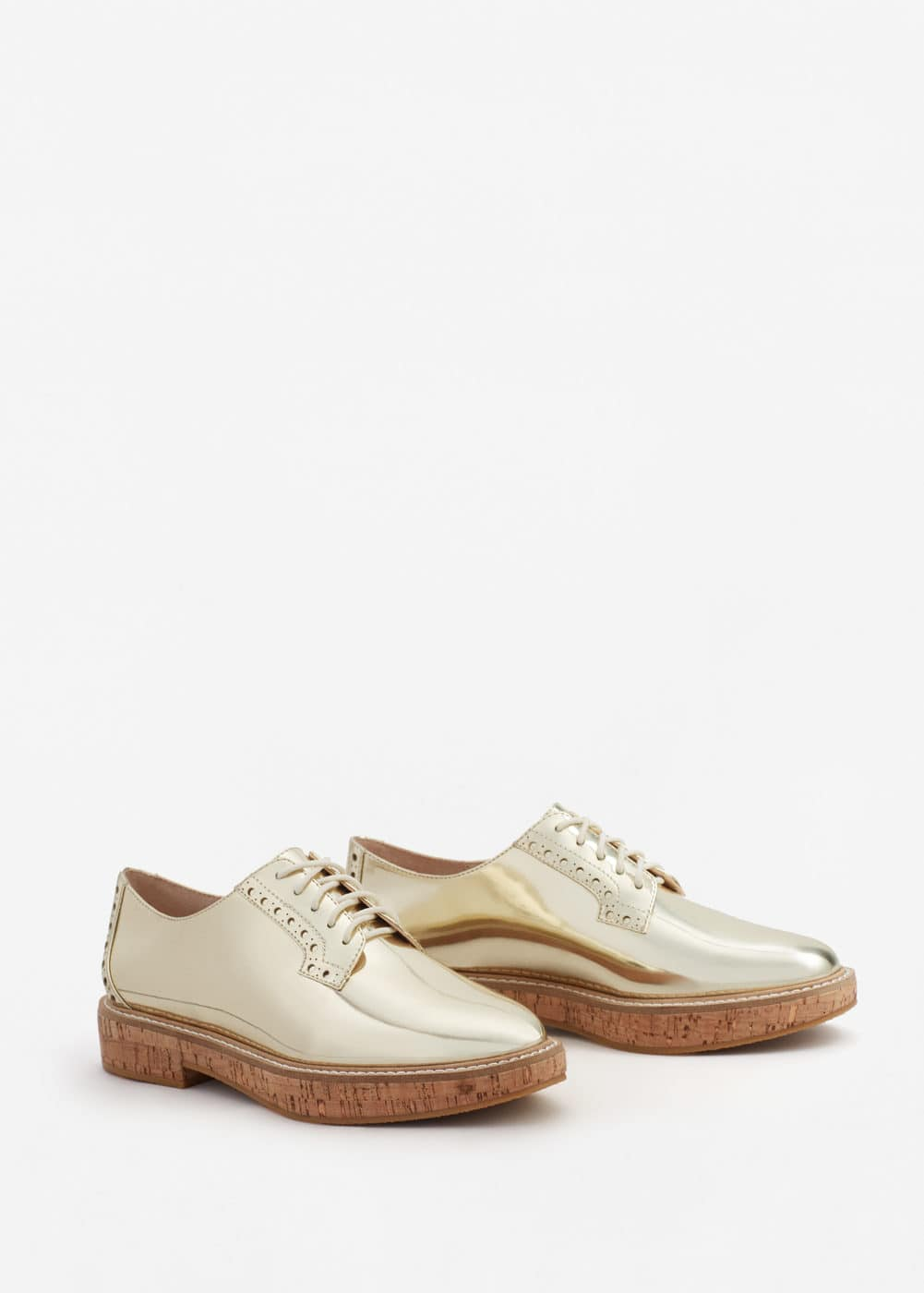 Metallic oxford shoes | MANGO