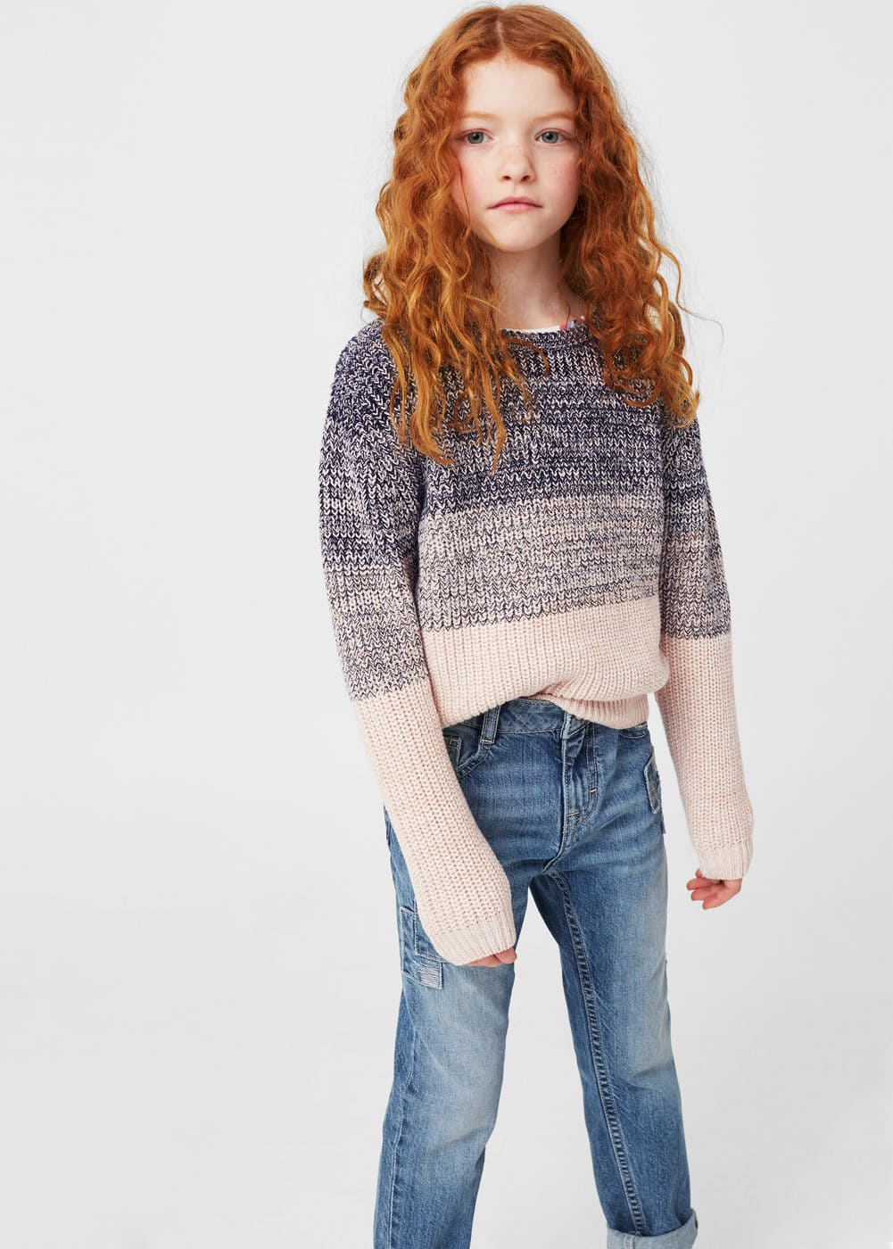 Ombré cotton sweater | MANGO KIDS