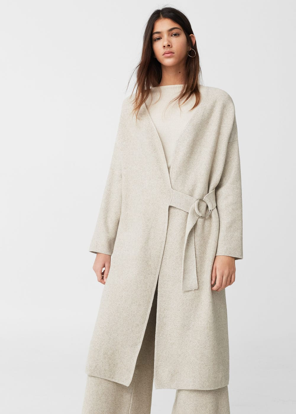 Buckled linen-blend cardigan | MANGO