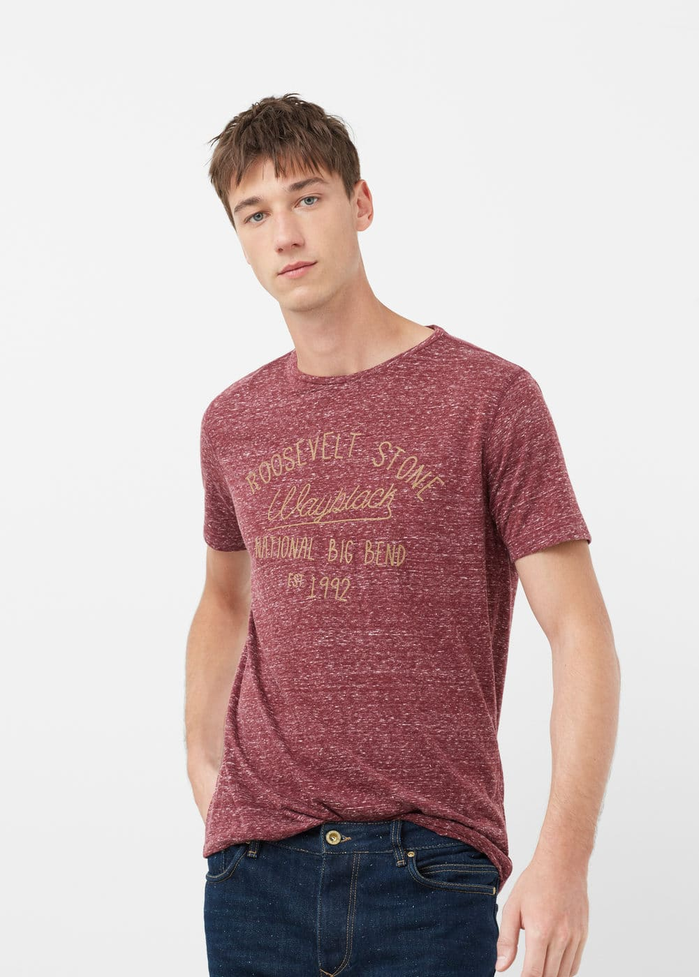 Message flecked t-shirt | MANGO MAN