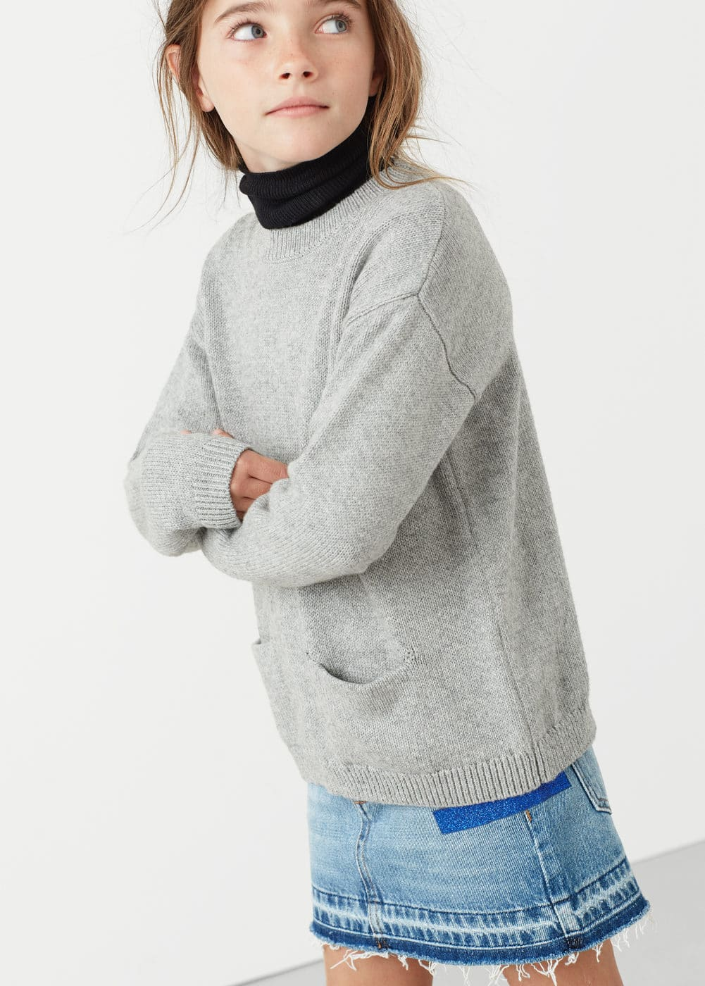 Pockets cotton-blend sweater | MANGO KIDS
