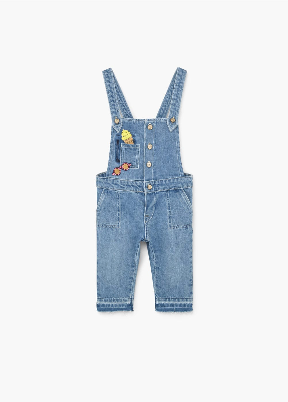 Patched denim dungarees | MANGO KIDS