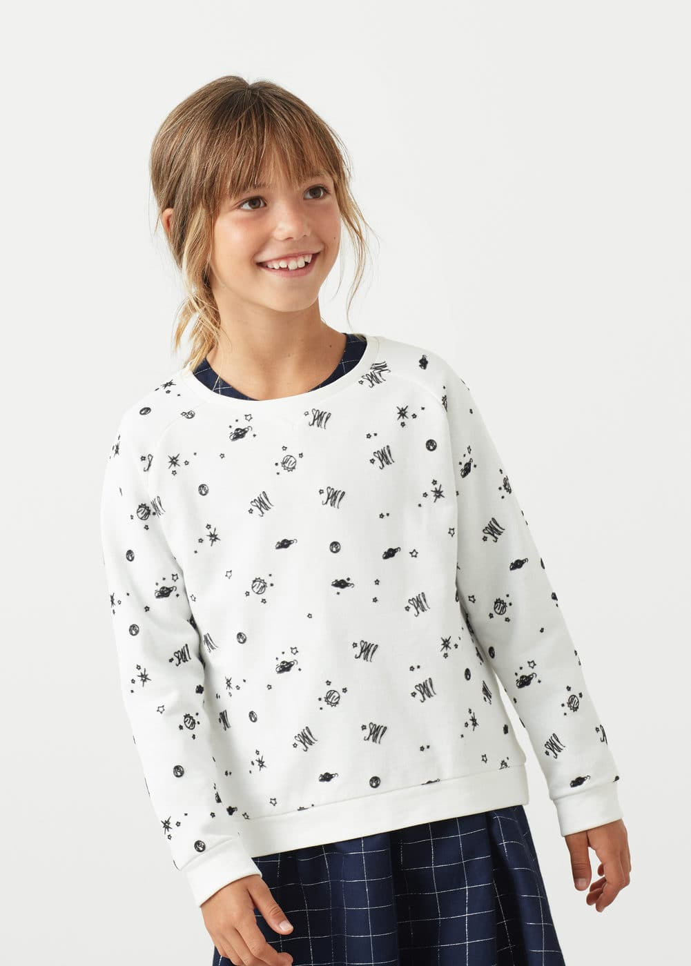 Printed cotton sweatshirt | MANGO KIDS