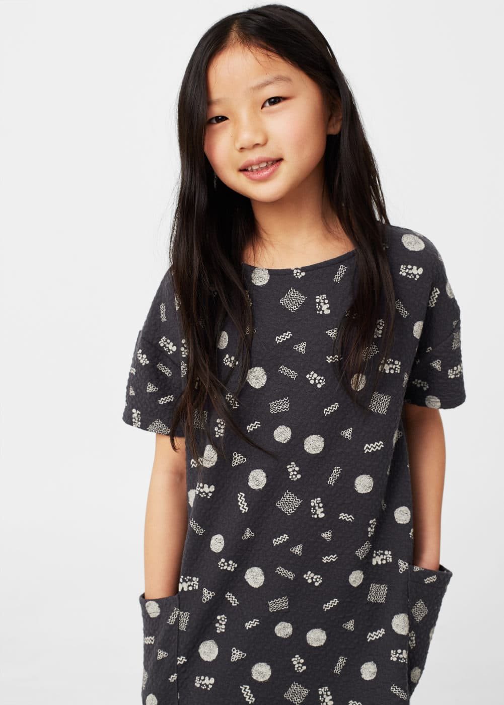 Textured printed dress | MANGO KIDS