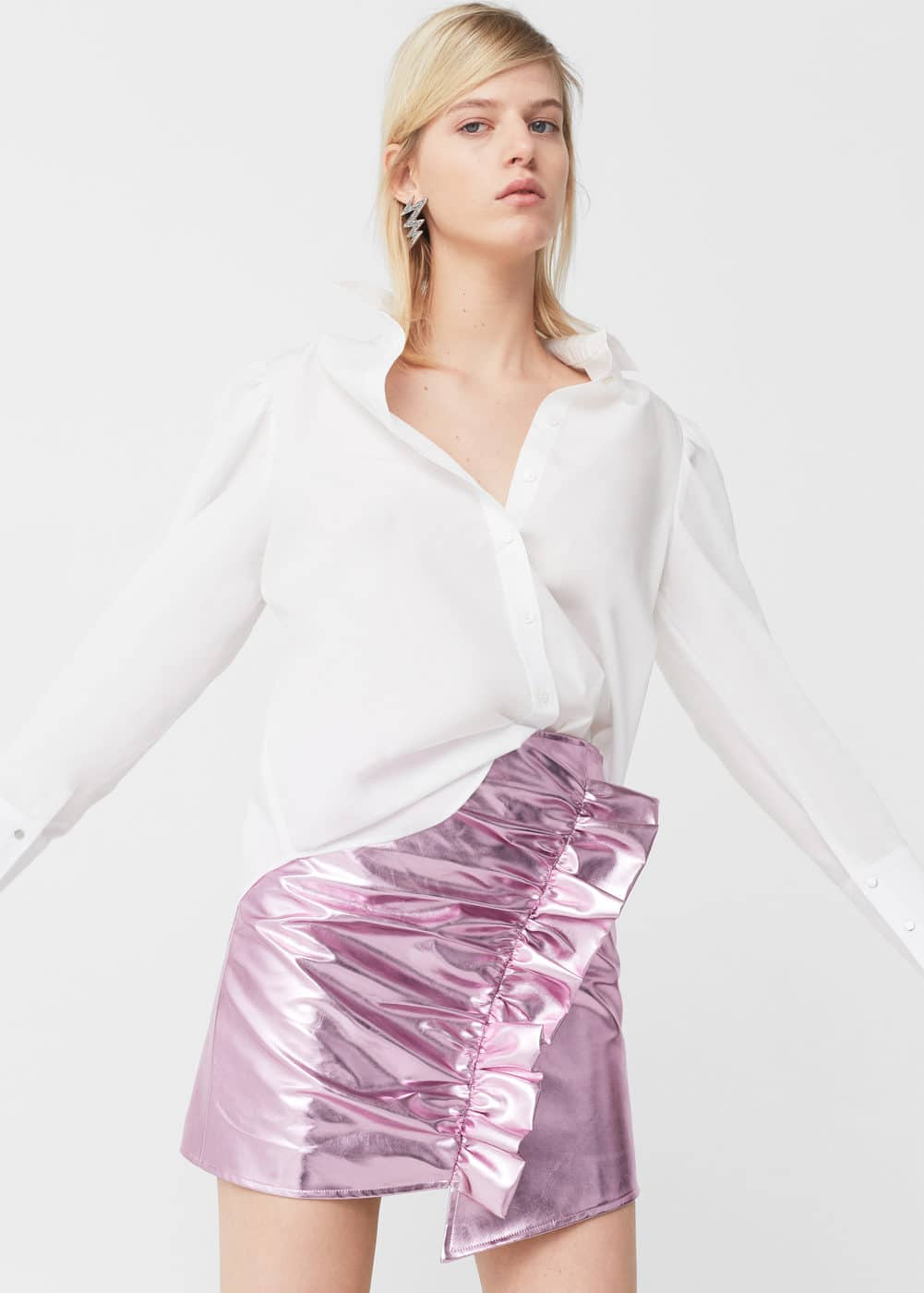 Drapped metallic skirt | MANGO