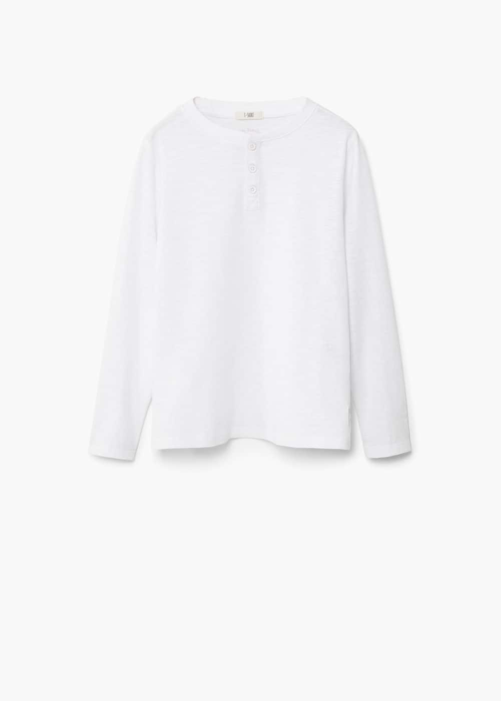 Buttoned cotton t-shirt | MANGO KIDS