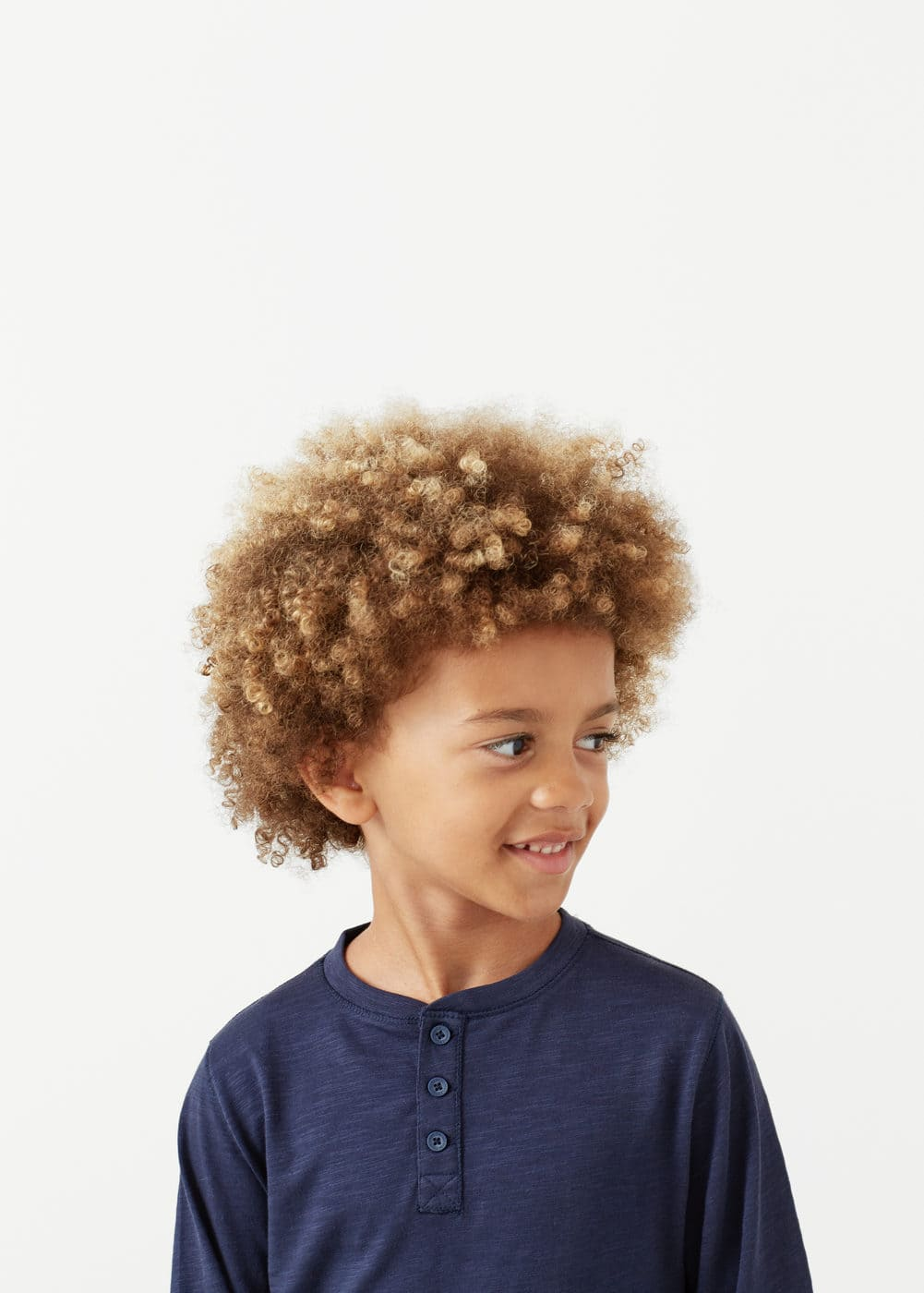 Slub-cotton henley t-shirt | MANGO KIDS