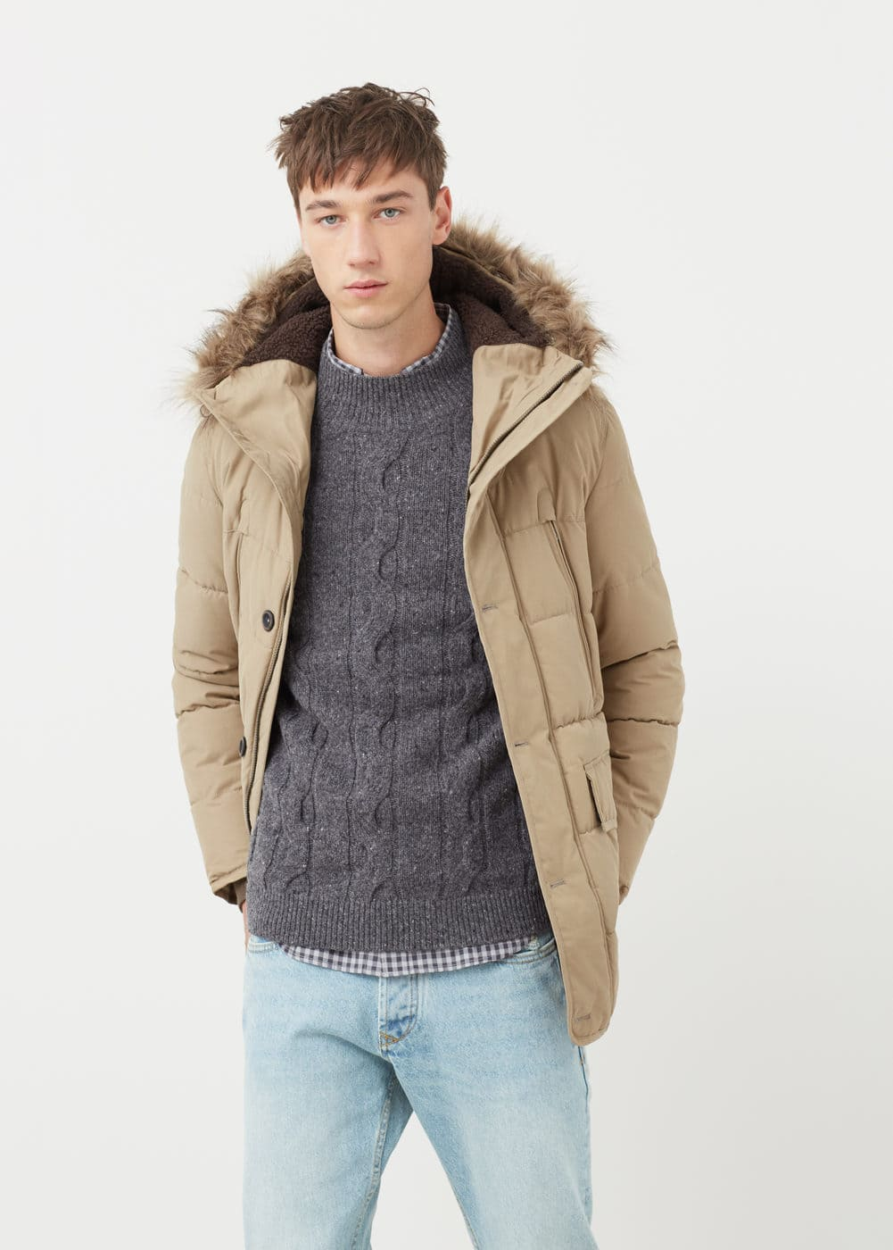 Faux-fur quilted coat | MANGO MAN