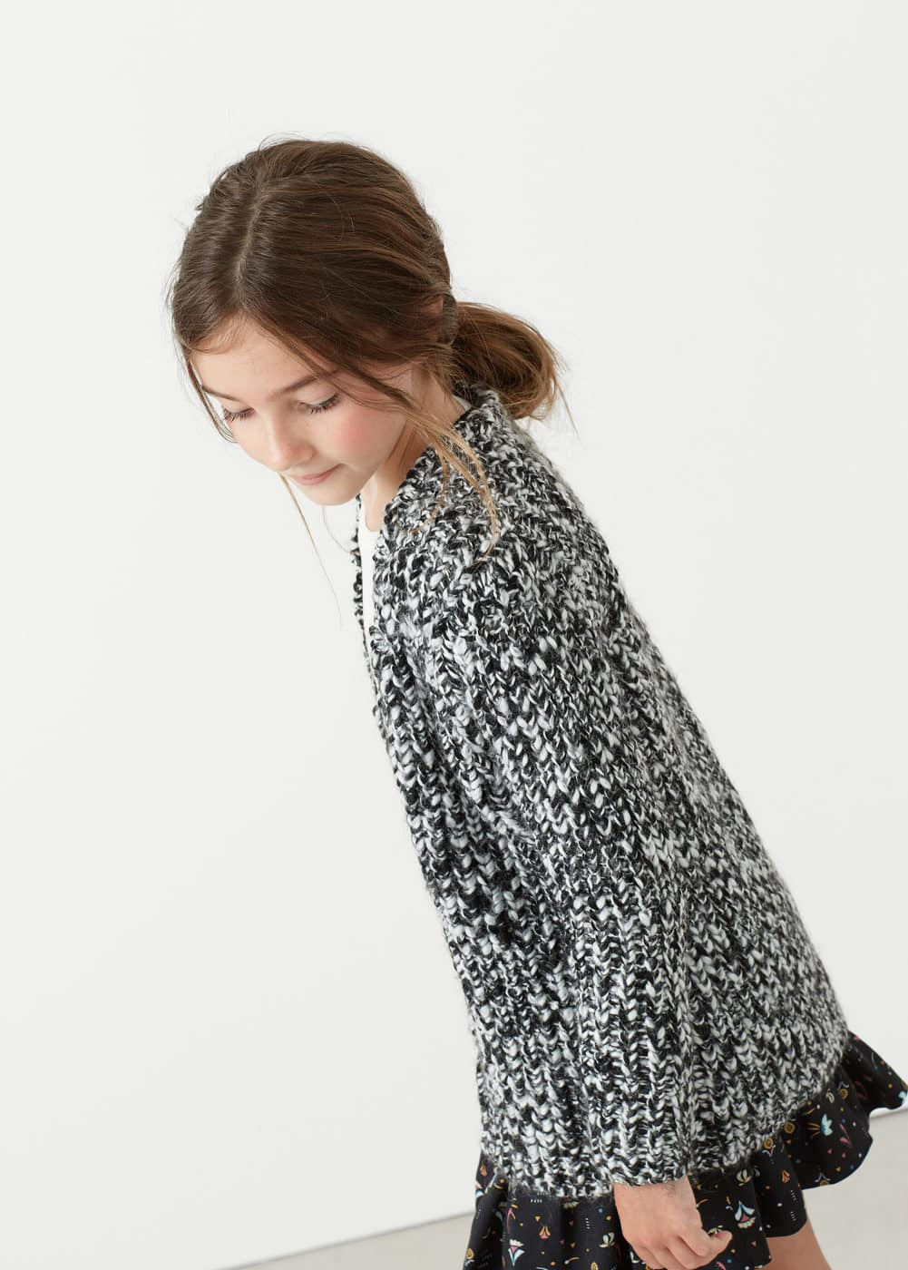 Flecked wool-blend cardigan | MANGO KIDS