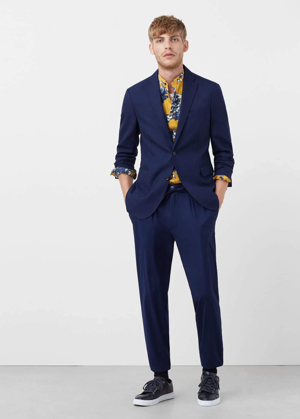 Slim-fit unstructured wool-blend blazer | MANGO MAN