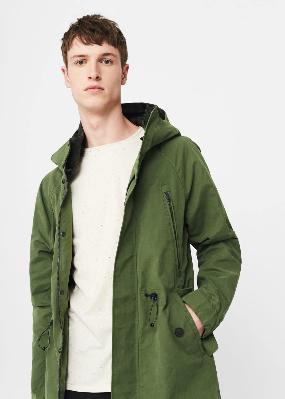 Hooded nylon parka | MANGO
