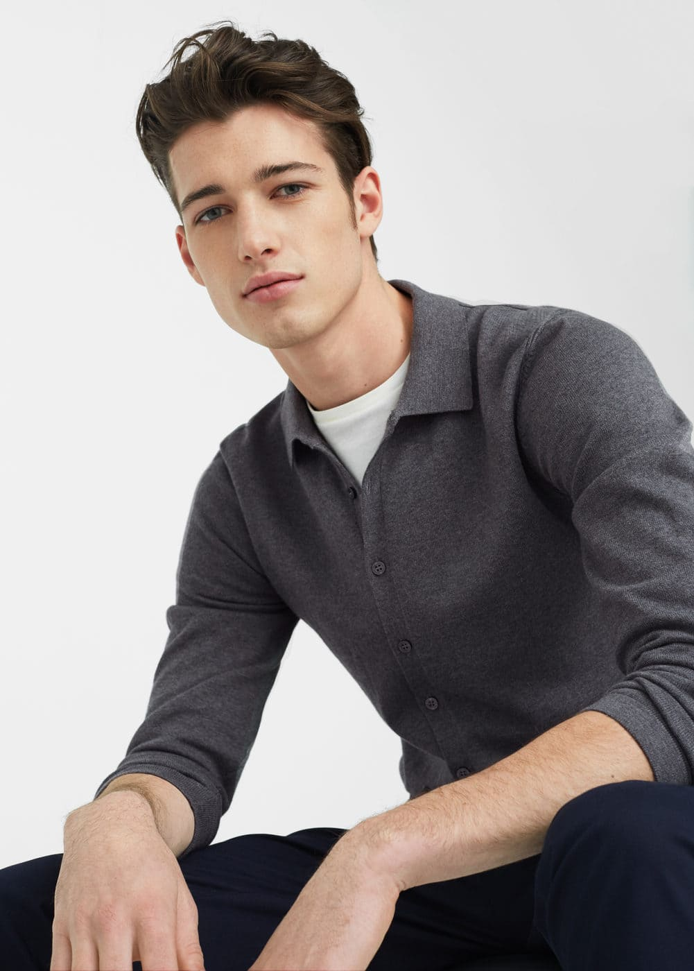 Regular-fit knit shirt | MANGO MAN