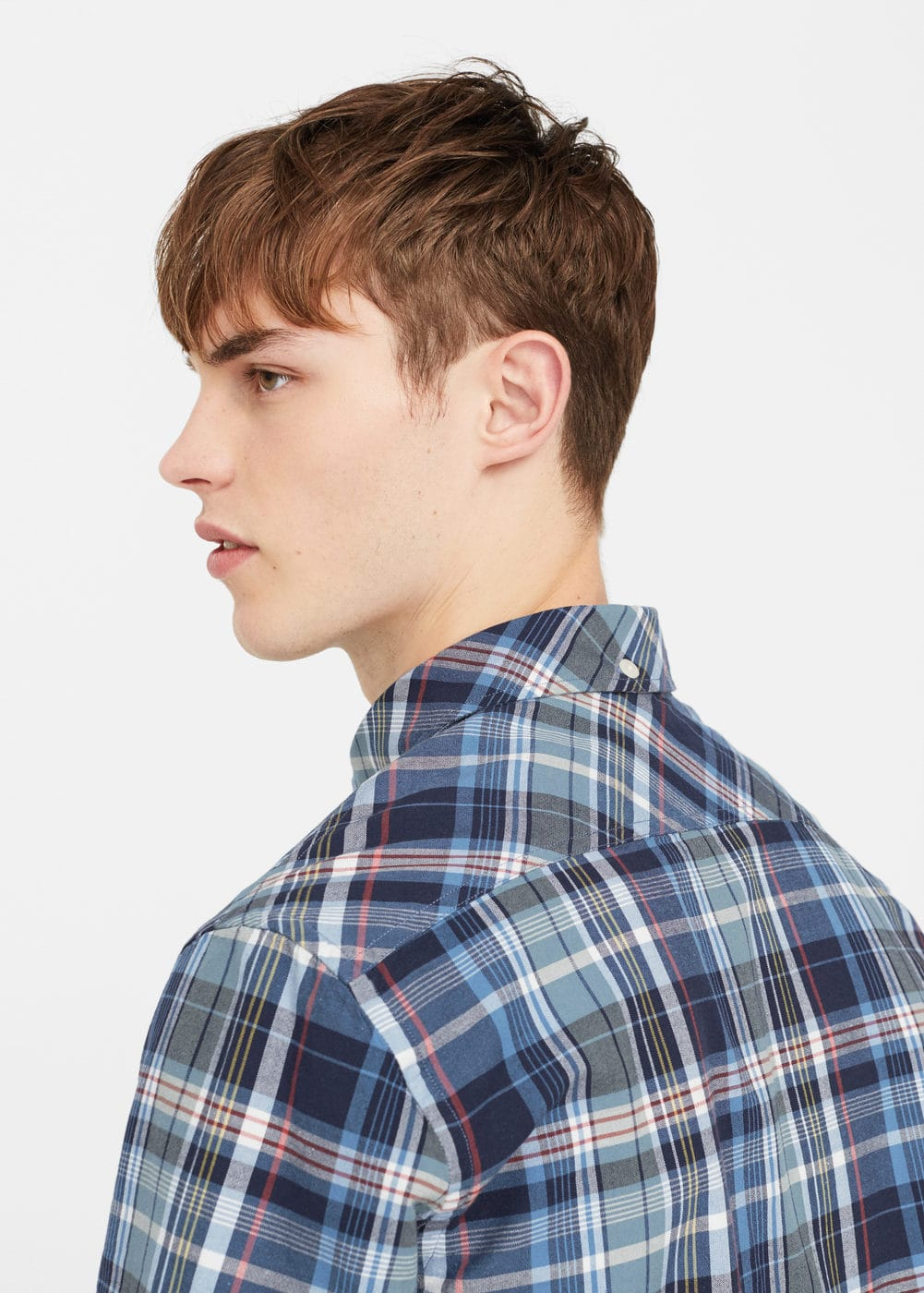 Slim-fit madras check shirt | MANGO
