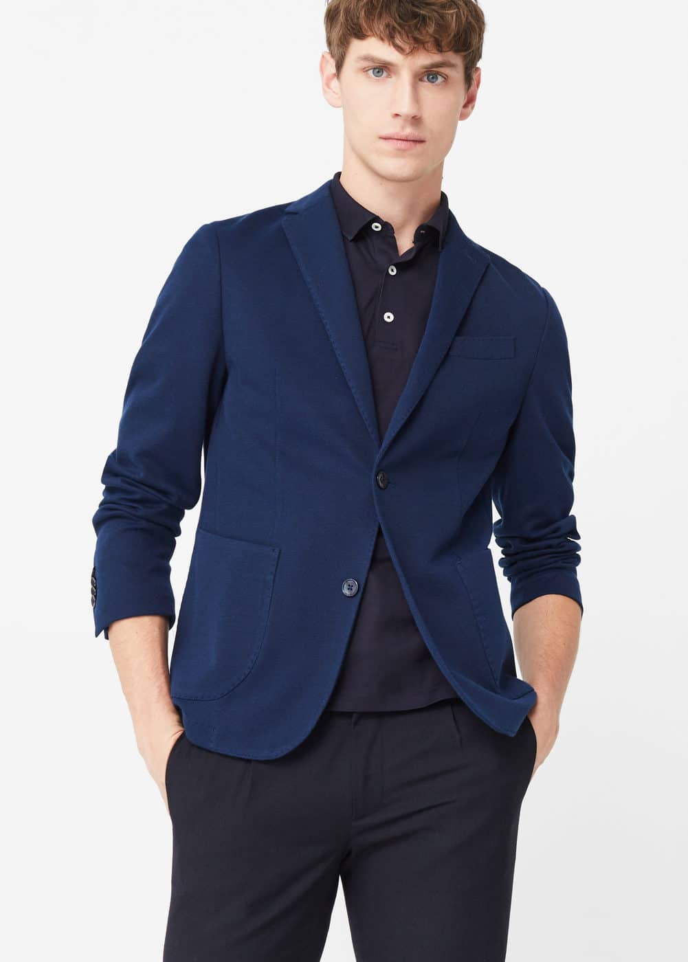 Slim-fit unstructured cotton blazer | MANGO MAN
