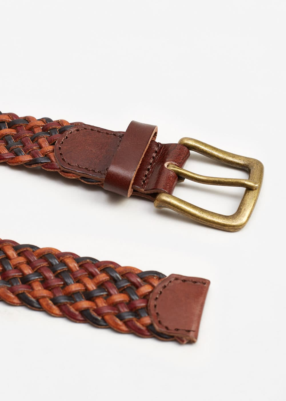Recycled leather braided belt | MANGO MAN
