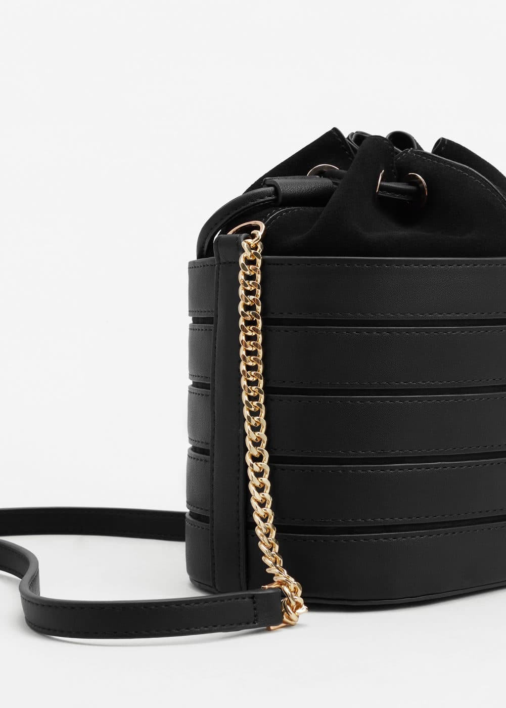 Mini leather bucket bag | MANGO