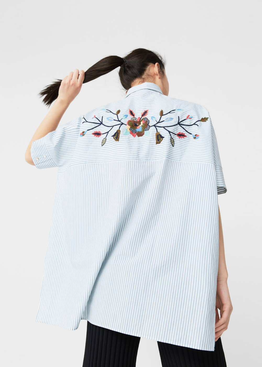 Embroidered cotton shirt | MANGO