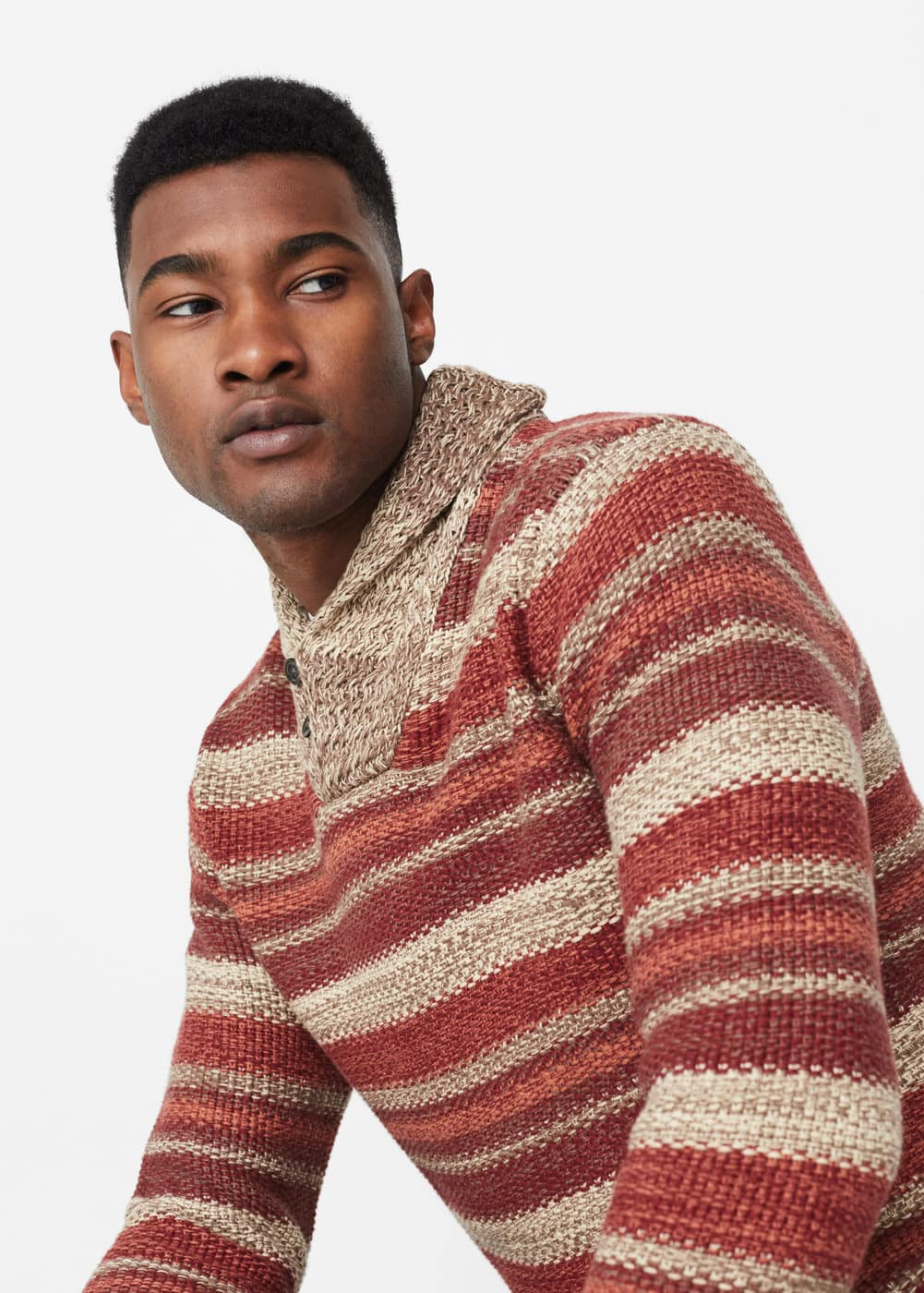 Shawl collar sweater | MANGO MAN