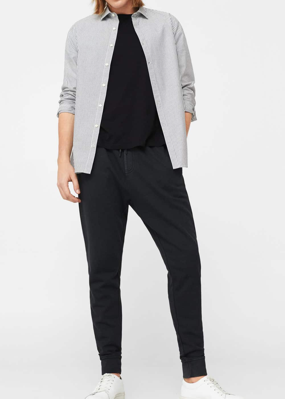 Plush-cotton jogging trousers | MANGO MAN