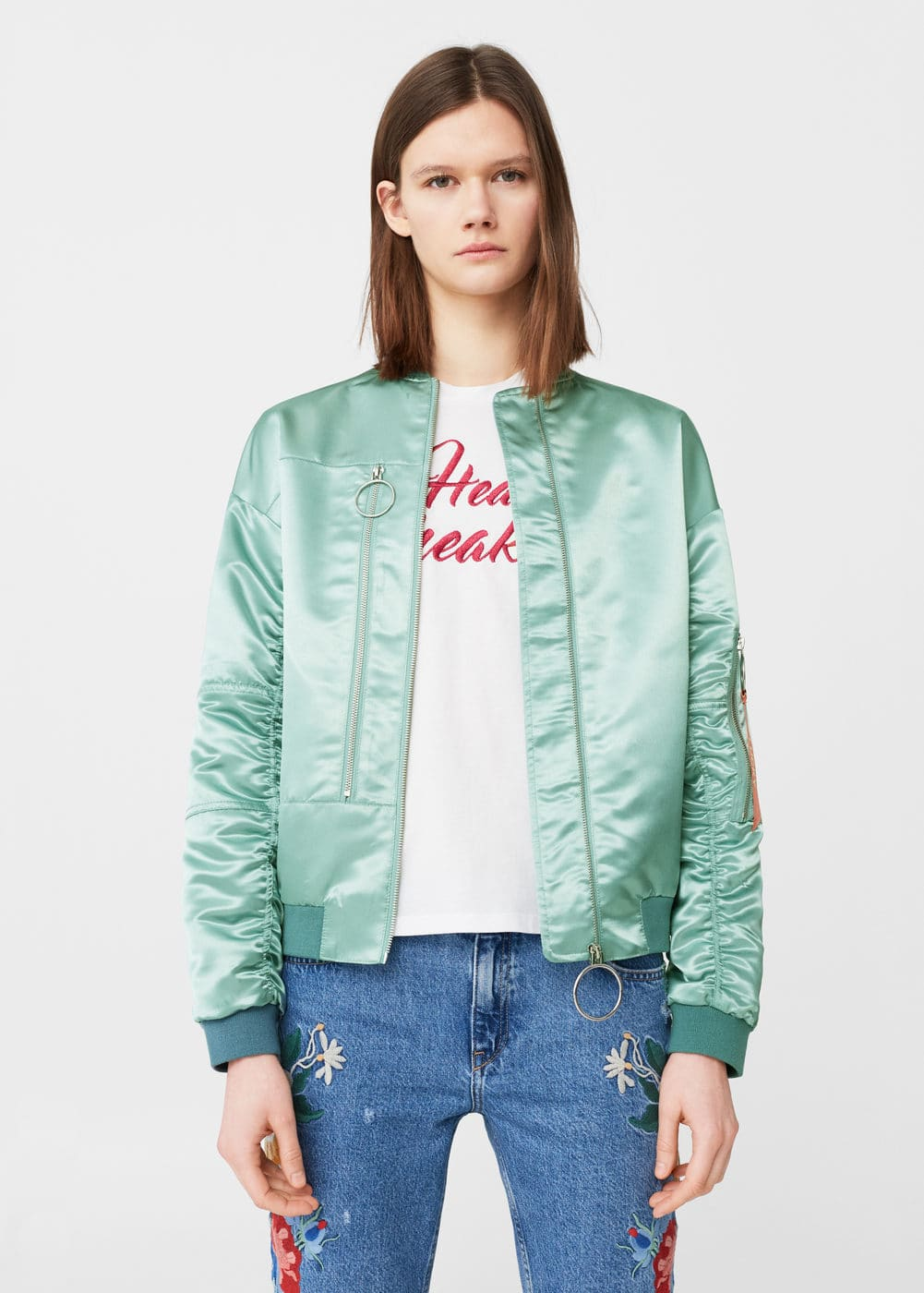 Embroidered satin bomber | MANGO