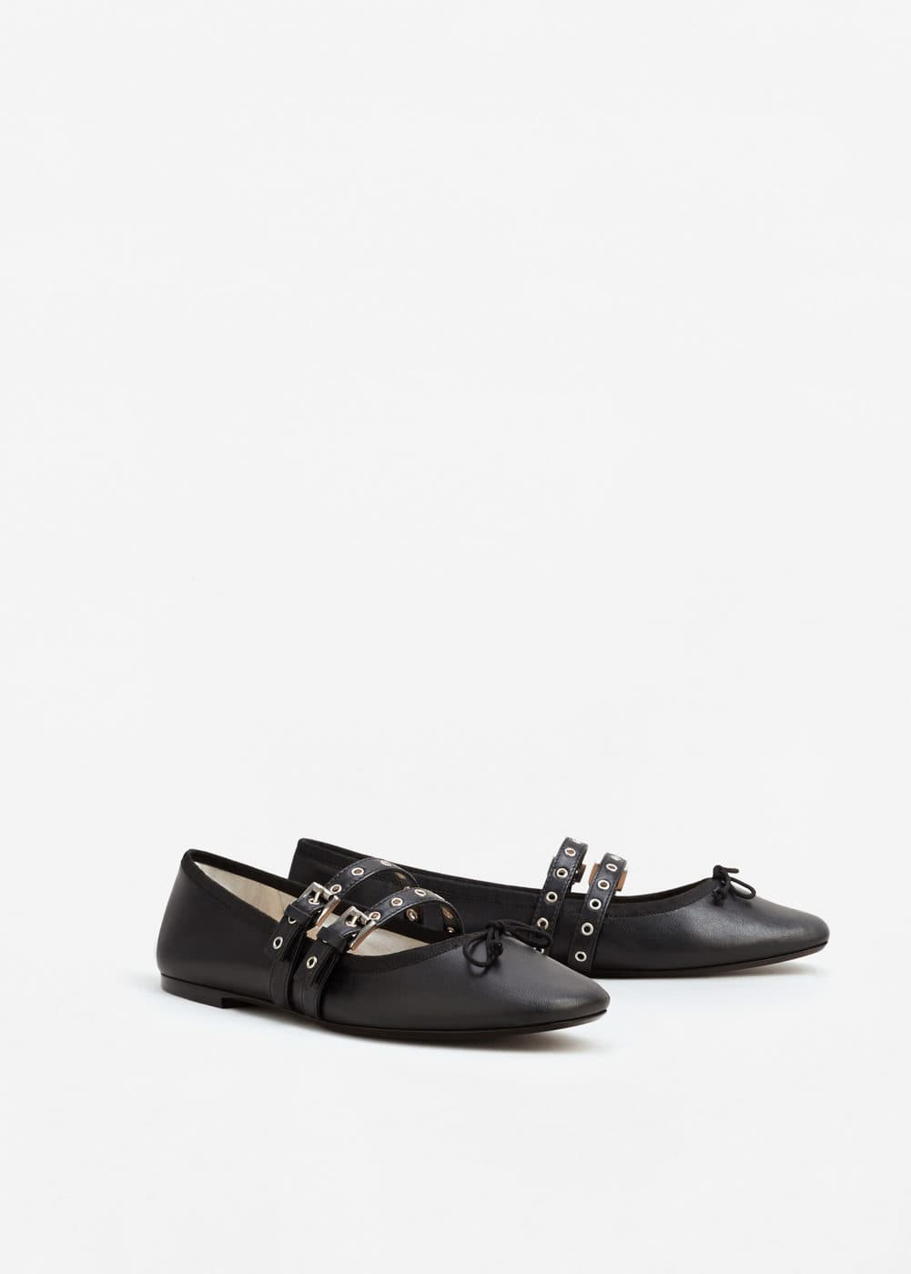 Decorative buckles leather ballerina | MANGO