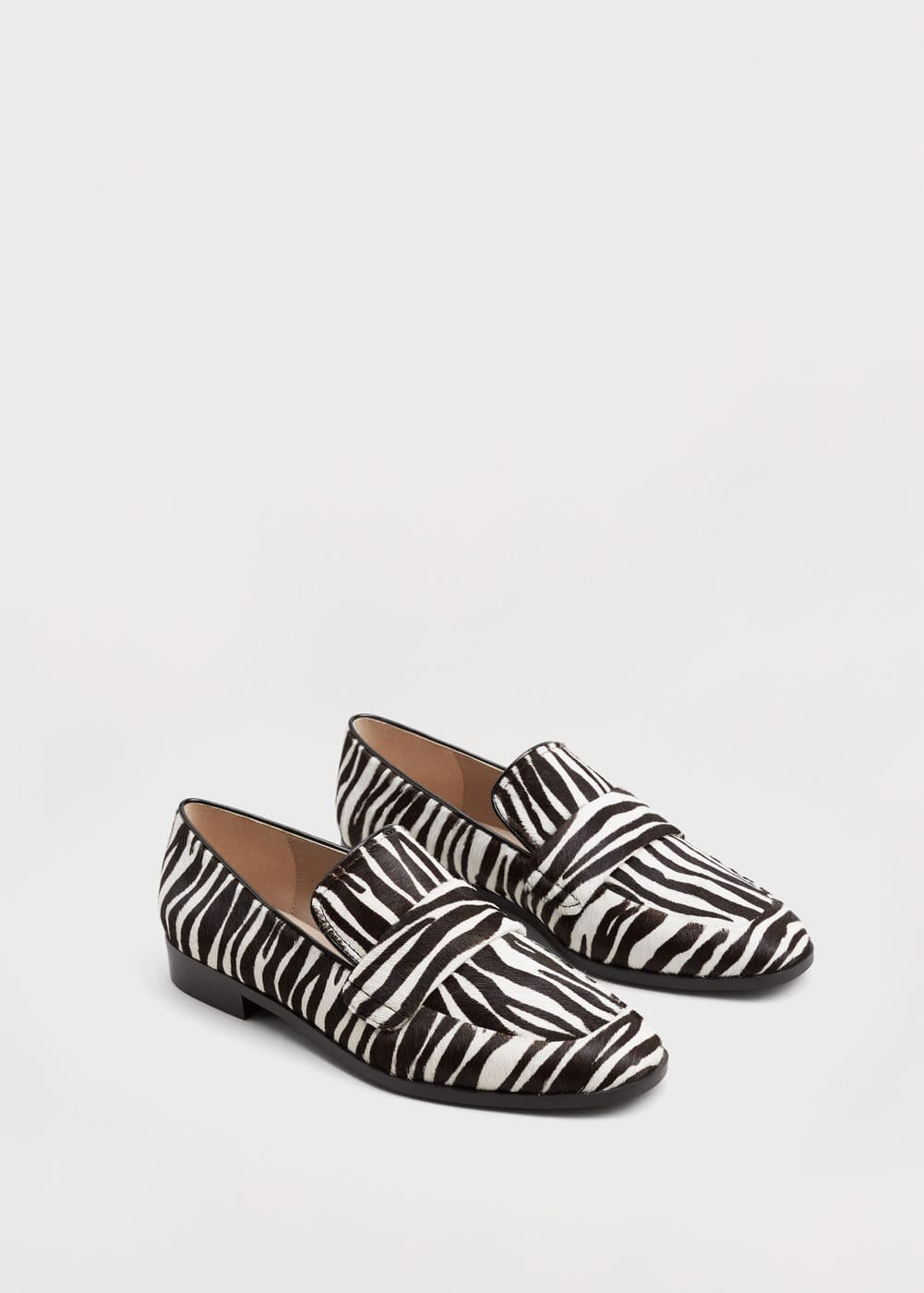 Fur leather loafers | MANGO
