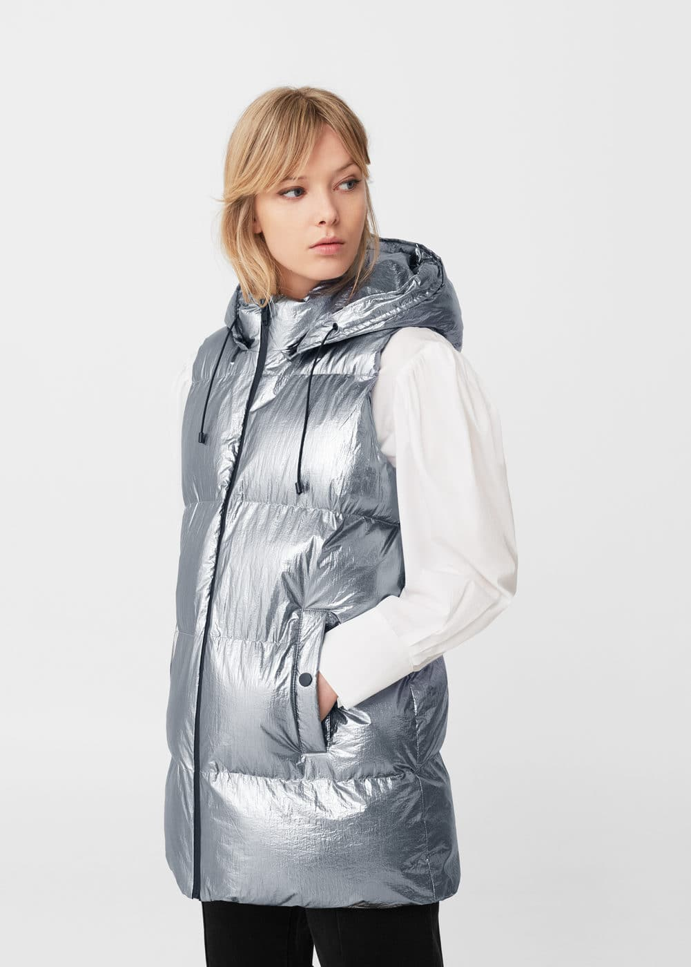 Quilted metallic vest | MANGO