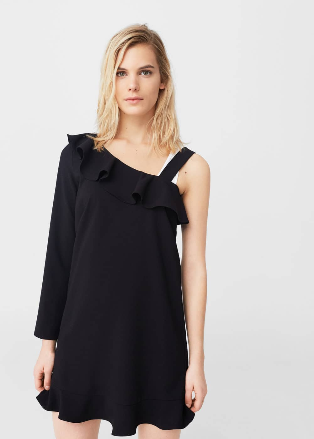 Asymmetric neckline dress | MANGO