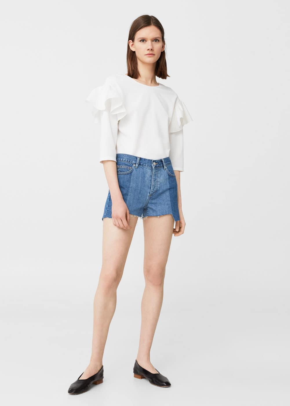 Medium wash denim shorts | MANGO