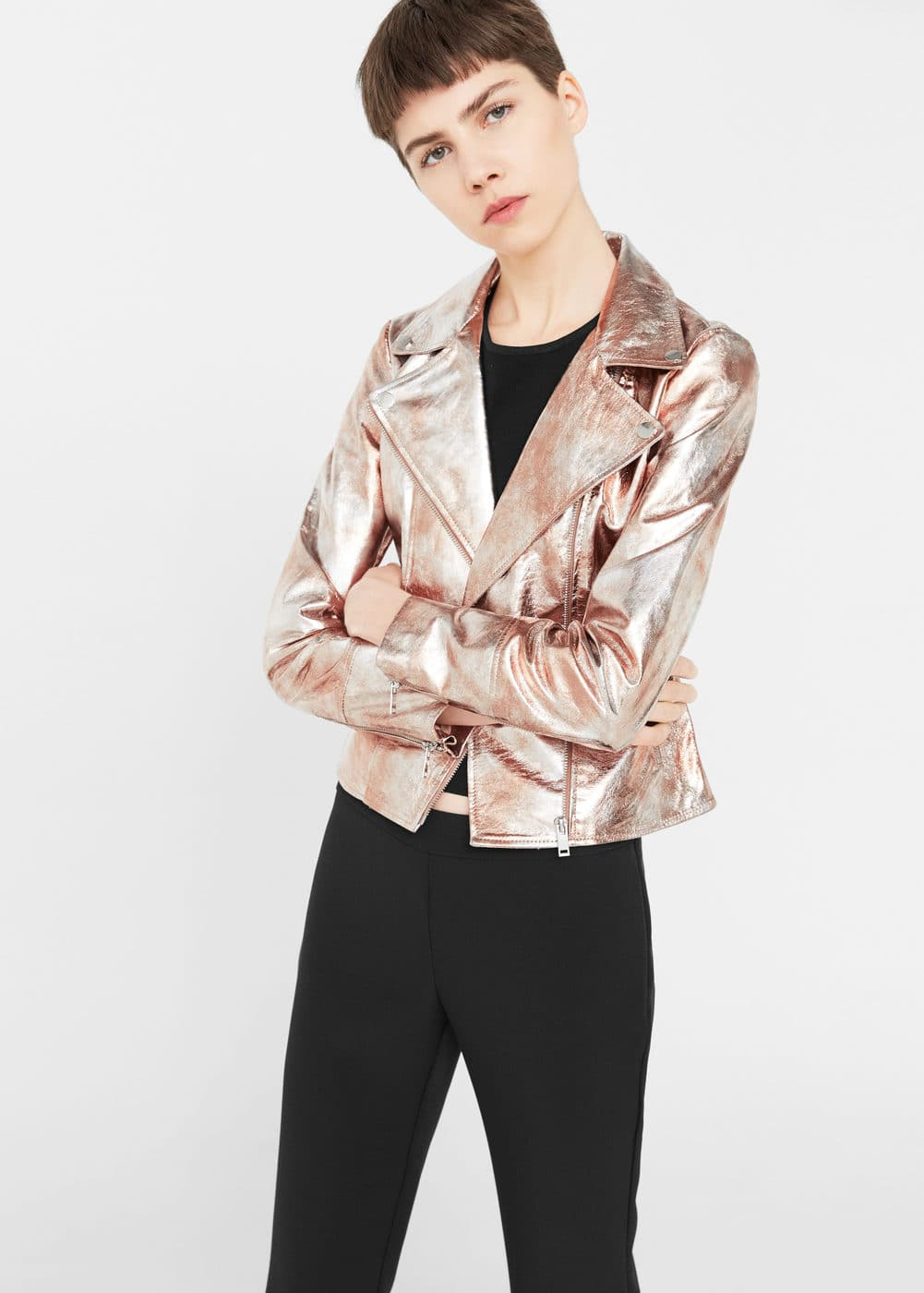 Metallic leather jacket | MANGO