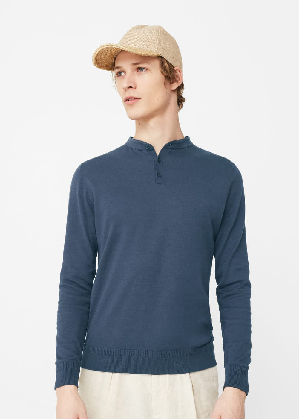 Henley cotton sweater | MANGO MAN